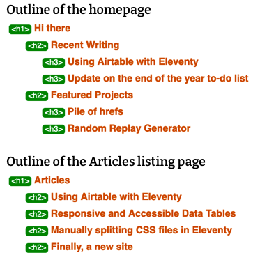 The document outline of the homepage and the articles listing page
