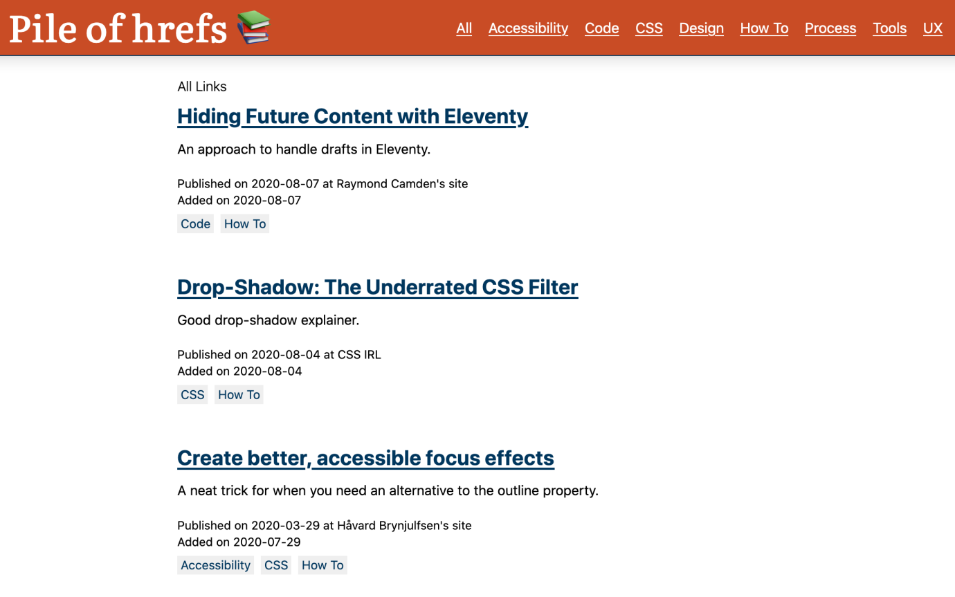 Pile of hrefs CSS section